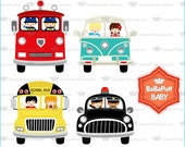 Children on Vehicles Clip Art Set 1---- Personal and Small Commercial Use ---- BB 0393