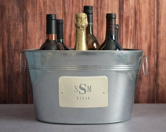 Personalized Wedding Gift - Large Champagne Beverage Tub with Silver Monogram