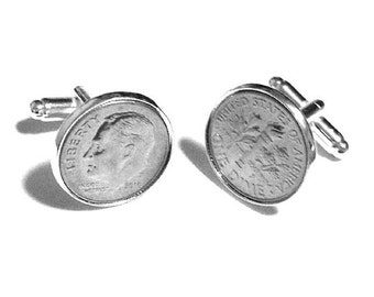 "Dime Cufflinks - ""Dime In"" Diamond Play on Words Cuff Links - Sale!"