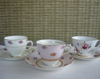 Set of 3 Vintage Bone China CollectableTeacup and Saucer, Shabby Chic Decor