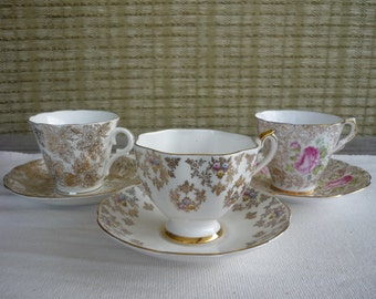 Set of 3 Vintage Bone China CollectableTeacup and Saucer, Shabby Chic