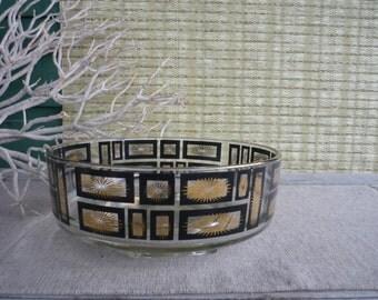 Vintage Black and Gold Salad Bowl, Mid Century Modern Atomic Serving Bowl, Retro Dining