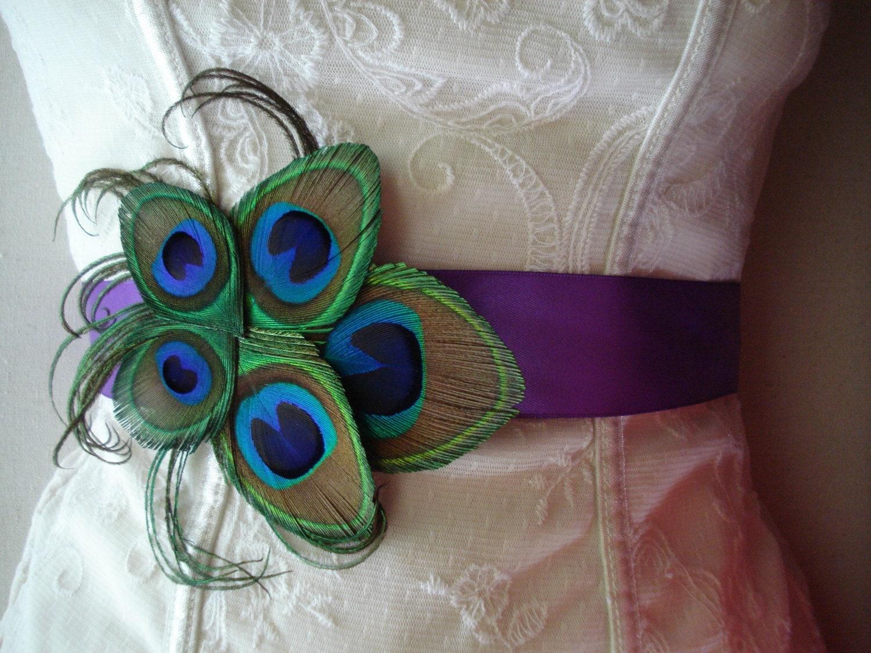 Peacock wedding dress sash for Peacock wedding dress sash