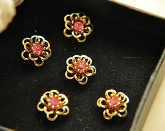 10pcs raw Brass plating gold  flower Filigree cab base with rhinestone Finding 11mm