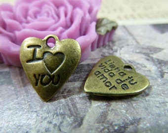 "30PCS antique bronze 13x14mm ""I love You"" heart charm pendant- W1173"