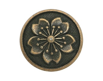 6 Tiny Snowflake Flower 1/2 inch ( 13 mm ) Metal Buttons Antique Brass Color
