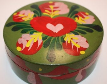 Fabulous Set Of Hand Painted Plastic Coasters With Pink, Red, Yellow And Green Floral Design-Coaster Set Includes Case and 6 Six Coasters