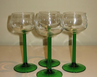 Beautiful Vintage Green Stemmed French Wine Goblets with Clear Bowls, Set of 6