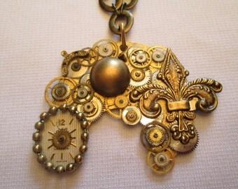 STEAMPUNK Necklace Vintage Pocket Watch Part FLEUR de Lis Gear Brass Gold Face Dial Ball Two Tone Handmade by DKsSteampunk
