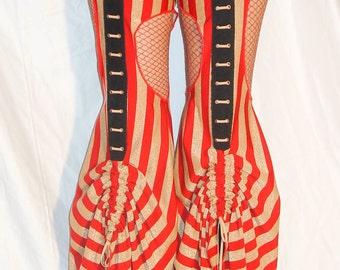 Cirque Burlesque Circus Red Gold Striped Bellydance Garter Pants Small Special Edition