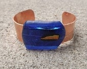 Copper Fused Glass Bracelet cuff - PiecesofhomeMosaics