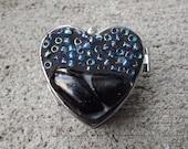 Mosaic Blue Heart Pill Box, Beaded Heart Box, Heart Jewelry Box, Fused Glass Box