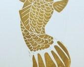 Gold Koi Linocut Print, Unframed