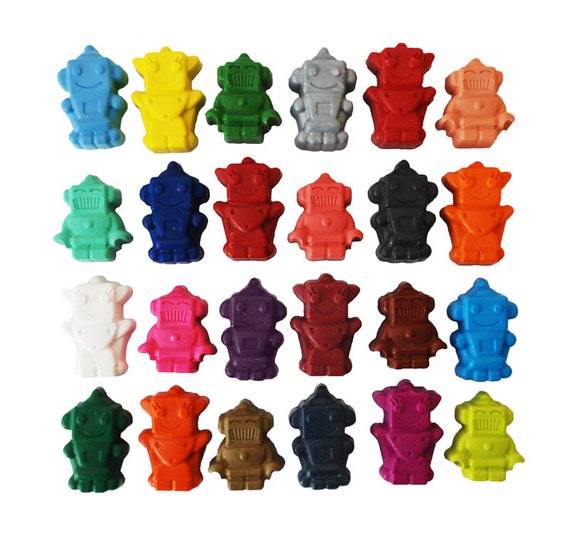 Robot crayons, set of 24, rainbow crayons, birthday gift