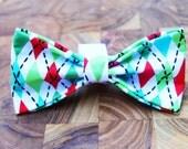 Argyle Christmas Dog Bow Tie For Any size Dog Collar