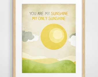 You Are My Sunshine Wall Art, Nursery Decor, Art for Kids Room, Gender Neutral, Nursery Print, Yellow and Gray Wall Art
