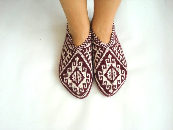 womens Slippers Maroon / burgundy and White cream Hand knit Turkish Slippers Socks christmas gift for women for her for womens size 7 - 8 -9