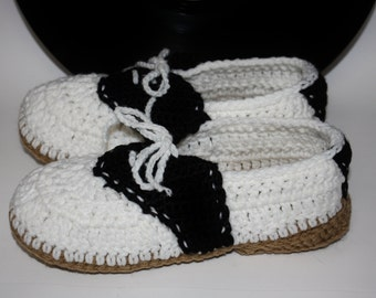 Women's Saddle Shoe Slippers - Handmade Crochet Shoes
