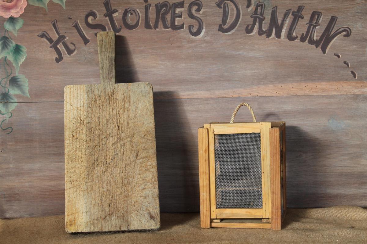ancienne petite boite fromage en bois et grillage m talfait. Black Bedroom Furniture Sets. Home Design Ideas