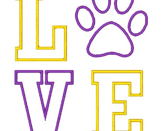 Love Tiger Paw Applique Embroidery Design - Instant Download
