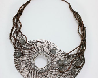 MUERTE DE MAR Statement Bib Copper Wire Crocheted Necklace/ Unique Art Necklace as seen in Belle Armoire Magazine. Example