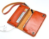 Orange Bifold leather  iPhone wallet  wristlet  with zipper