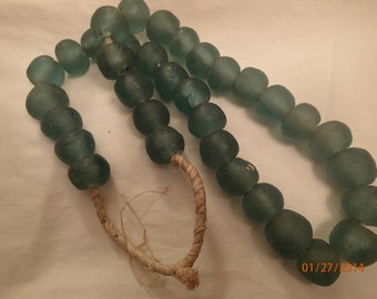 Antique Strand of African Trade Beads Green Glass PJsBeadedEagle