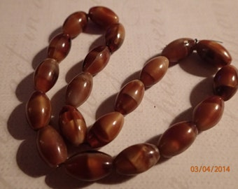 Vintage 1960's Brown Marbled Egg Shaped Beads/West German/PJsBeadedEagle