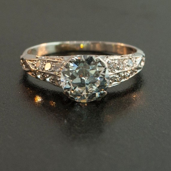 antique 1920 39 s platinum diamond filigree by sitfinejewelry on etsy. Black Bedroom Furniture Sets. Home Design Ideas