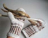 Knit Gloves hand knitted brown earthy color knitted mittens woman men autumn winter wool gloves