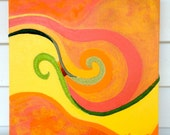 Embroidered Abstract Painting - Swirls of green, yellow, orange and pink - FREE Shipping