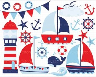 Clipart - Sailing / Sail Away (Boy) - Digital Clip Art (Instant Download)