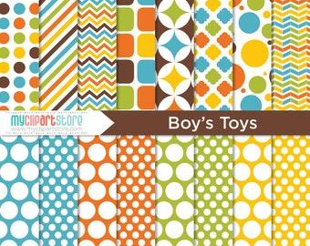 Digital Paper Boys Toys - Instant Download