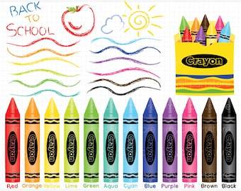 Clipart - Fun With Crayons - Educational / Teachers - Digital Clip Art (Instant Download)