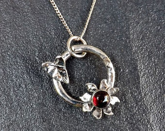 Sterling Silver Flower Garnet Pendant  And Ivy Leaf On A Sterling Silver Chain, Custom Made, UK