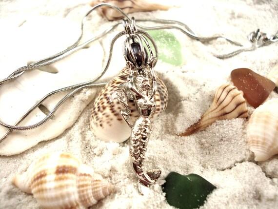 mermaid pearl cage pendant