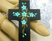 Victorian Pietra Dura Mourning Pendant Forget me Not Gothic Cross 1860
