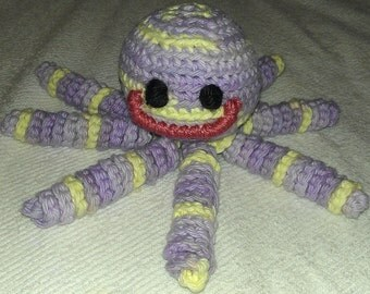 Crochet purple, lilac and white octopus amigurumi- baby toy- stuffed animal