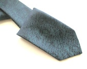 Vintage shiny black and teal tie