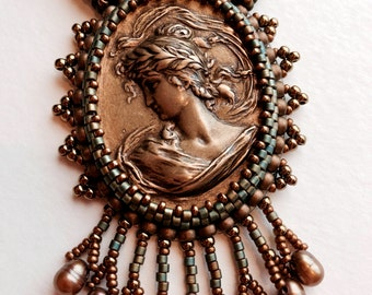 Bronze Cameo Bead Embroidered Necklace