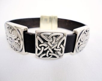Brown leather Bracelet for men, for women, silver plated celtic knot, Custom jewelry