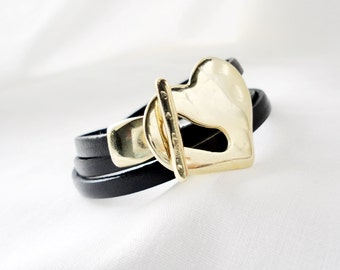 Women leather gold heart bracelet, multi wrap women, Valentine's Day Jewelry For Her, gold and black