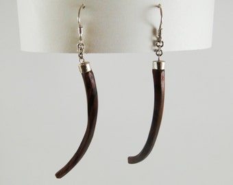 Wood and Silver  Earrings No.130904 - Cocobolo
