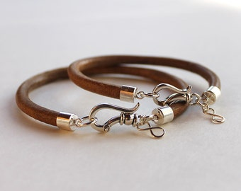 Couples infinity Bracelets - Forever and ever: Sterling silver and Leather his and hers bracelets Valentine gift