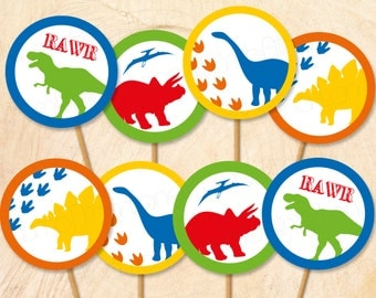 Dinosaur Printable Cupcake Toppers, Instant Download - Digital File, Printable, DIY