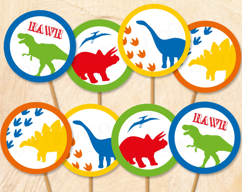 dinosaur printable cupcake toppers instant download digital