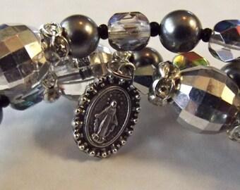 Grey Swarovski Pearl Rosary Bracelet