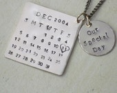 Hand Stamped Necklace - Personalized Calendar Necklace - Gift for Women and Girls