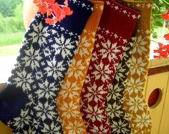 Hand knit Christmas Stocking Orange White Olive Yellow Dark Blue  with folksy ornaments Personalized  Christmas decoration Christmas gift