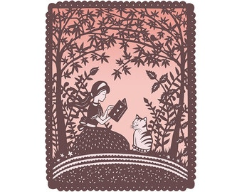 5x7 Print - Dinah - Girl and Cat Reading Under Trees - 5x7 Fine Art Print